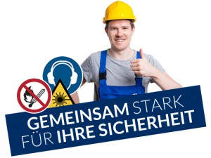 Arbeitssicherheit 24 - Gemeinsam stark für Ihre Sicherheit - Mann mit Sicherheitssymbolen